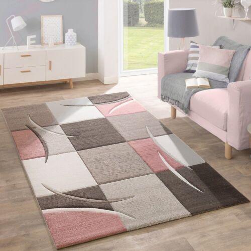 Salle De Séjour Tapis Rose Pâle Beige Marron Gris pastel couleur Carreaux Tapis Soft Mat