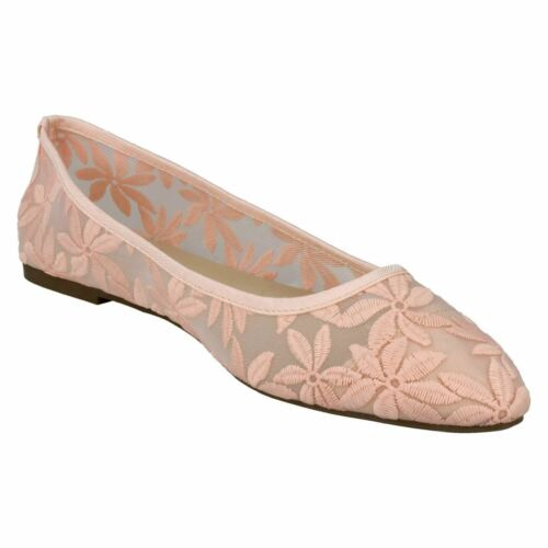 F8R0389 LADIES SPOT ON POINTED TOE SLIP ON FLORAL EMBROIDERED FABRIC FLAT SHOES