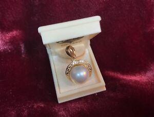 c5f9cad725ef8 Details about 14K Mabe Pearl Necklace Enhancer Pendant Greek Key Design New