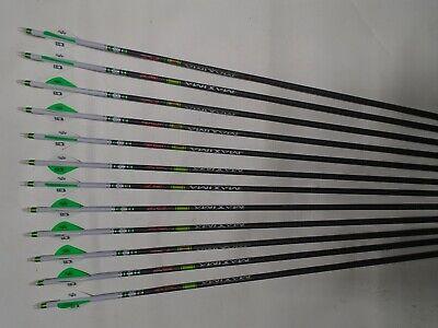 "12pcs Carbon arrow with 2/""blazer vane bohning nock  for compound bow archery"