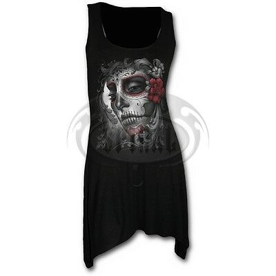 Spiral Direct Sugar Doll Day Of The Dead Skull Gothic Black Long Line Vest Top