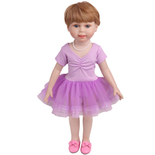 """18/"""" American Doll Dress Ballet Skirt Comfortable And Easy To Wear Purple"""