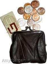 New Women's Brown Leather Change Purse mini coin wallet purse bag change case bn