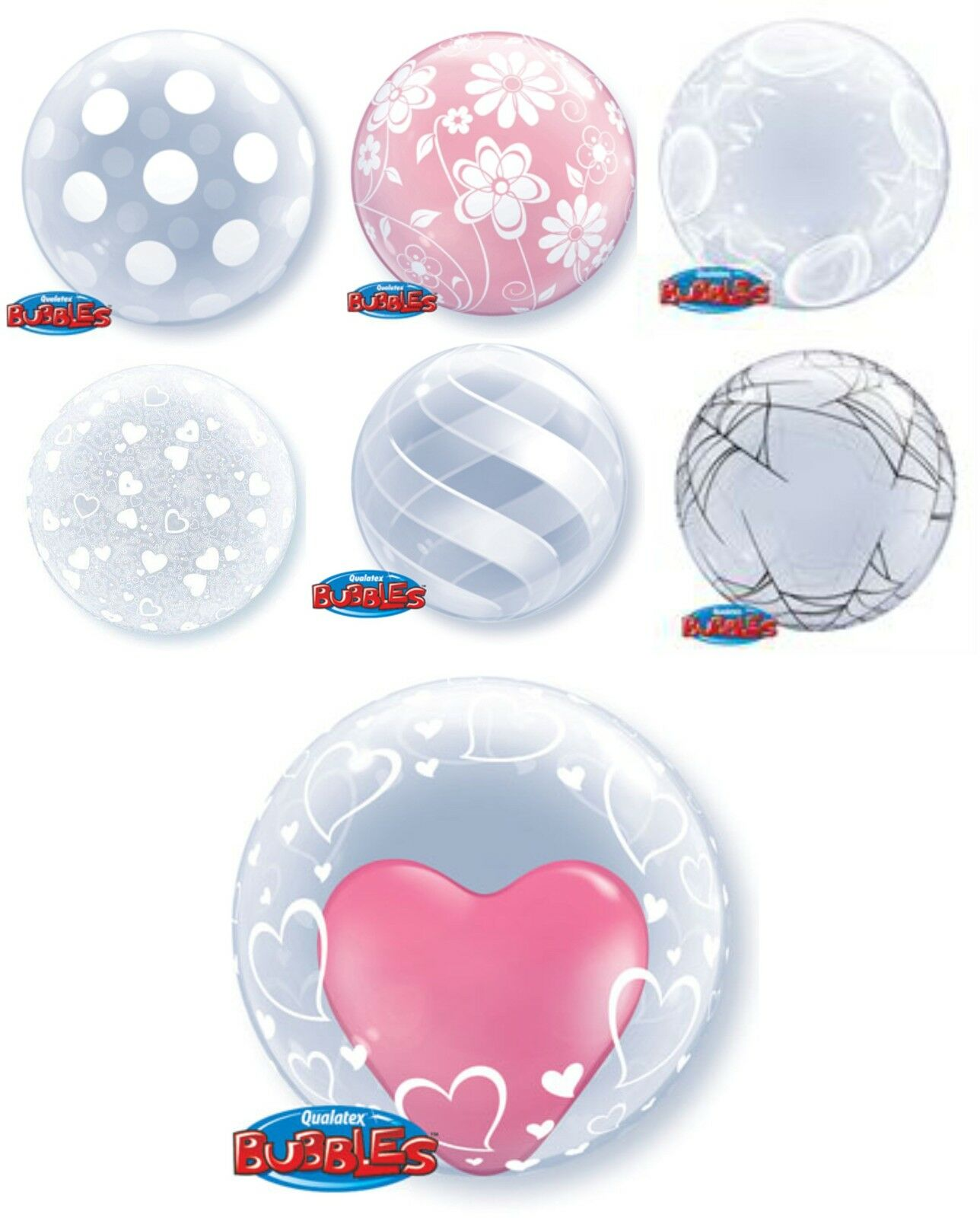 QUALATEX DECO BUBBLE Clear Plain Printed All Sizes 20  22  24  Shapes Designs