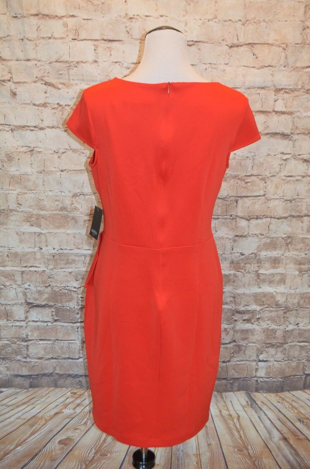 212eb0a54a3 ... Modcloth Exalted Executive Dress Red NWT 12 Peplum Knit cap cap cap  sleeve pleats Marina 82bf72