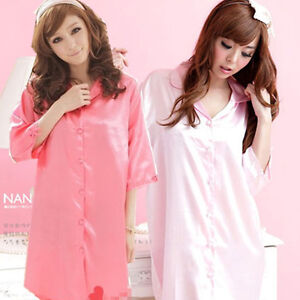 c3118dda10f7 Women s Solid Black Sexy Lingerie Silk Night Sleepwear Shirt Skirt ...