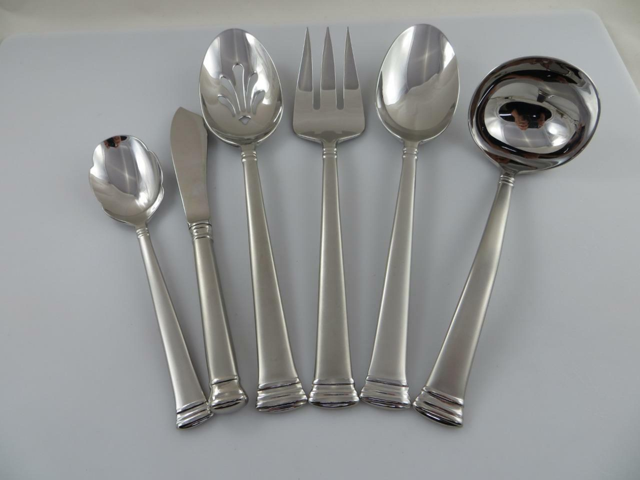 6 Serving Pieces ETERNAL FROSTED Lenox 18 8 Stainless Steel Flatware Korea