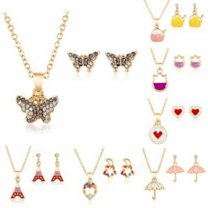 feaab4b808f Fashion Women Girls Enamel Jewelry Set Crystal Gold Chain Necklace ...
