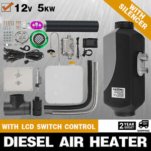 5KW-12V-Diesel-Air-Heater-10L-Tank-LCD-Thermostat-Silencer-5000W-For-Trucks-Boat