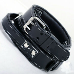 hundehalsband leder griff schwarz 50 cm lang und 5 5 cm breit l ebay. Black Bedroom Furniture Sets. Home Design Ideas