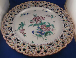 Antique-Large-19thC-St-Clement-Faience-Reticulated-Charger-Plate-Fayenze-Teller