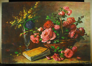 Gustave-Fleury-Chromolithography-Basket-Flowers-Roses-And-Book-c1930-Flowers