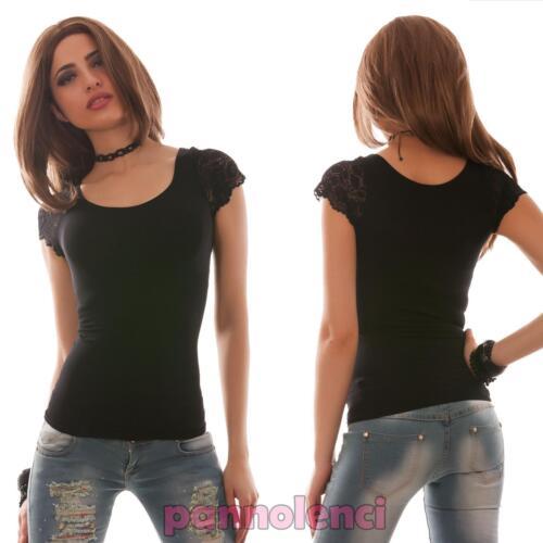Maglia donna top maglietta maniche pizzo elasticizzata aderente nuovo W722