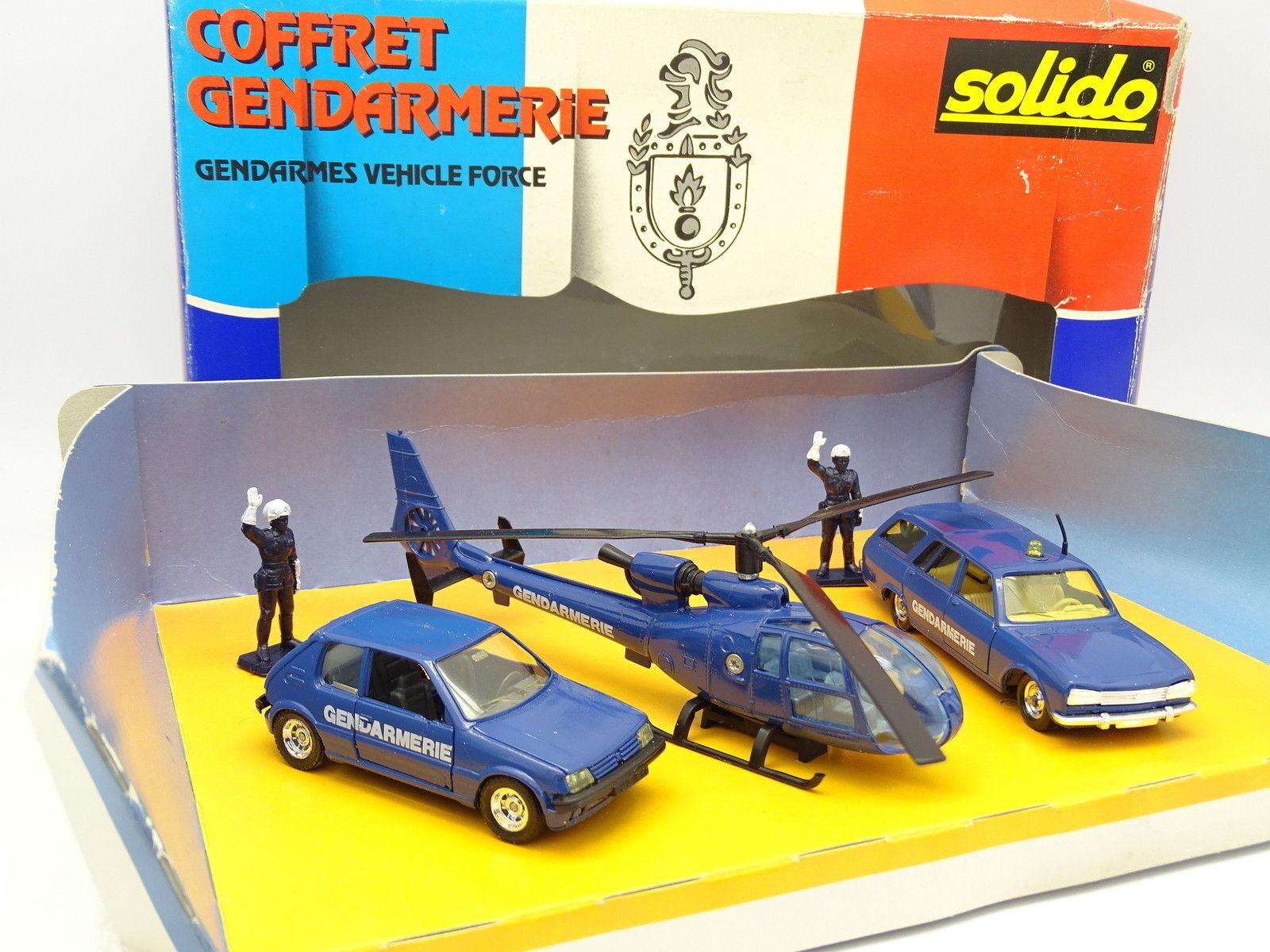 Solido 1 43 - Boxset Police - Peugeot 205 - 504 Break - Helicopter