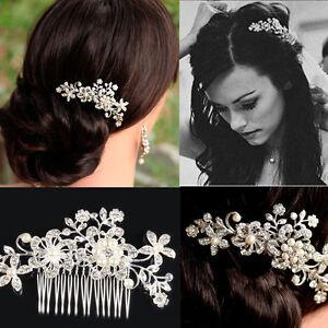 Rhinestone-Bridal-Wedding-Flower-Pearls-Women-Headband-Hair-Clip-Comb-Jewelry