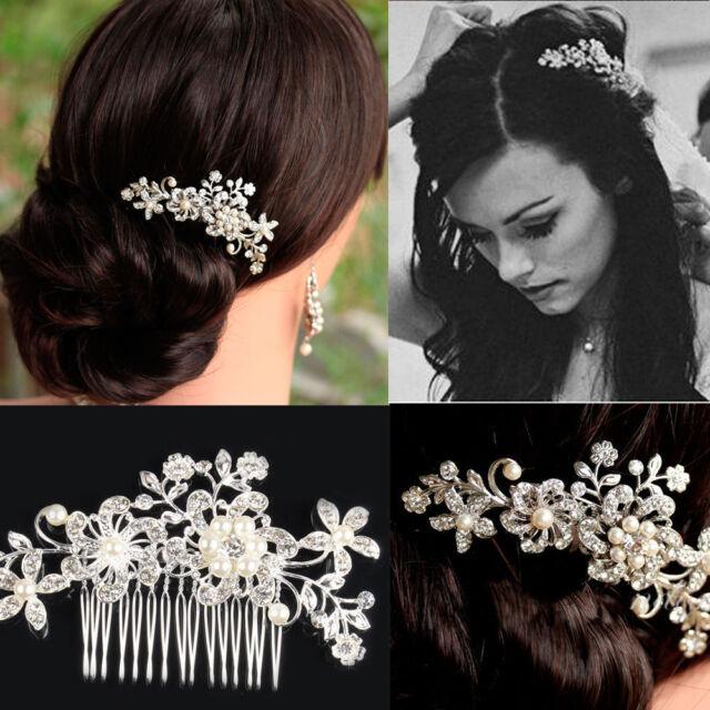 Rhinestone Bridal Wedding Flower Pearls Women Headband Hair Clip Comb Jewelry