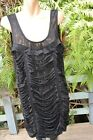 CROSSROADS Size L-16/18 Black TOP Lacy Tunic NEW Shredded Design rrp $39.95