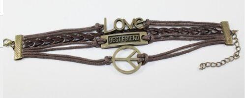 Mejor amigo de Cuero Amor Paz wristband Wrist strap pulsera con dijes Marrón A58