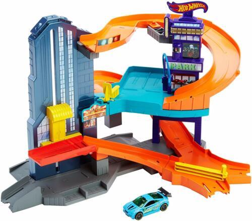 """LOT OF /""""5/"""" HOT WHEELS 3 Levels of Action Workshop Track Builder Speedtropolis"""
