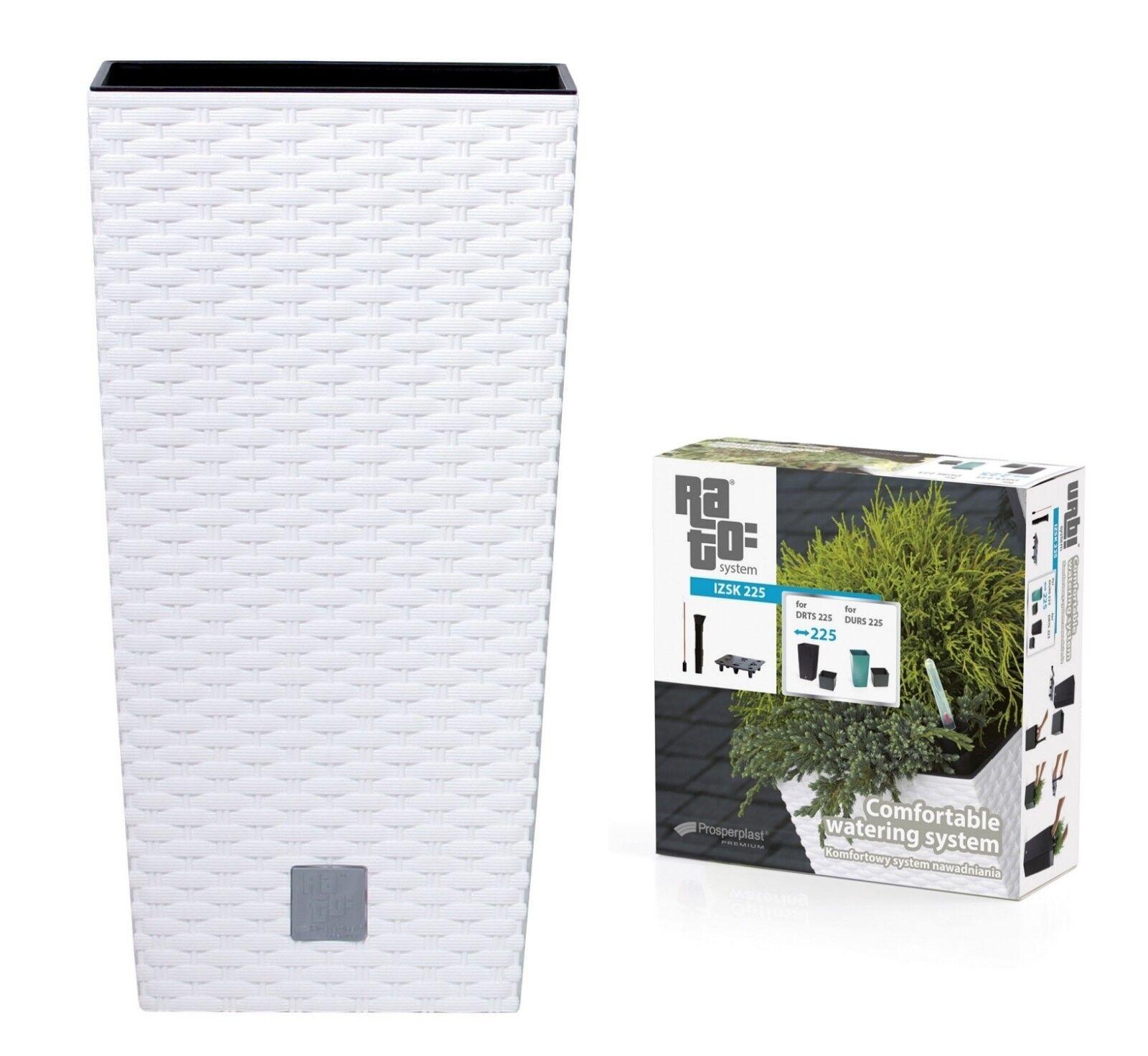 Large RATTAN Tall Planter Square Plastic Garden Indoor Office Flower Pot Weiß