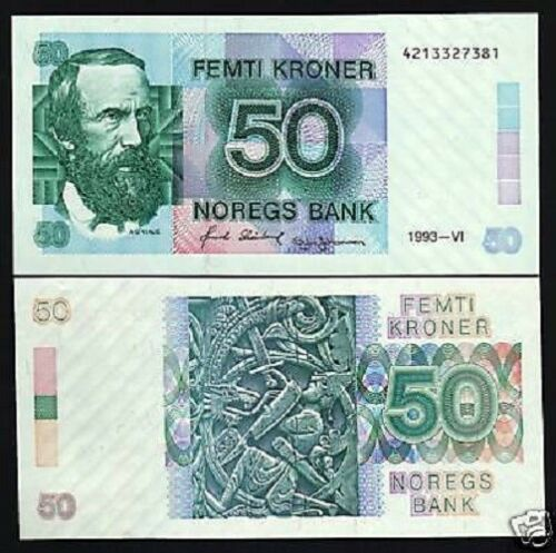 NORWAY 50 KRONER P42 C 1993 SLAYING DRAGON UNC RARE MONEY BILL EUROPEAN BANKNOTE