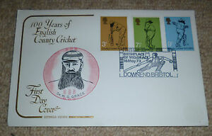 100 YEARS OF ENGLISH COUNTY CRICKET  FIRST DAY COVER  16th May 1973 - BROMLEY Kent, GB, United Kingdom - 100 YEARS OF ENGLISH COUNTY CRICKET  FIRST DAY COVER  16th May 1973 - BROMLEY Kent, GB, United Kingdom