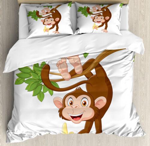 Cartoon Duvet Cover Set with Pillow Shams Monkey with Banana Tree Print