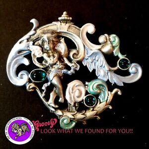 034-JJ-034-Jonette-Jewelry-Silver-Pewter-039-Fairy-Wings-Flowers-Green-Gemstones-039-PIN