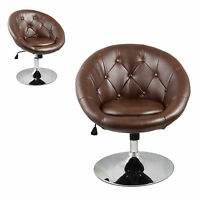Furniture Brown Accent Chair Office Round Back Living Room Modern Bar Kitchen