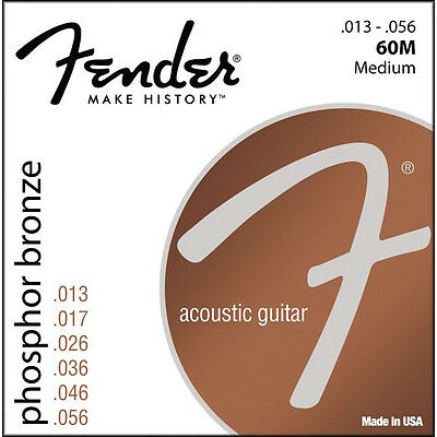 Fender 60M Phosphor Bronze Acoustic Guitar Strings 13-56 medium gauge