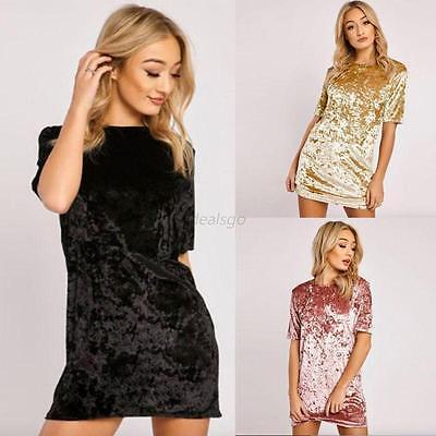 Womens Short Sleeve Velvet Casual Tops T Shirt Loose Long Top Blouse Dress Club