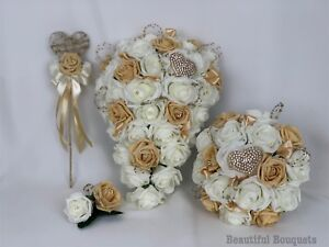 92038ed53 Image is loading Wedding-Bouquets-Gold-Ivory-Rose-Flowers-Bride-Bridesmaid-