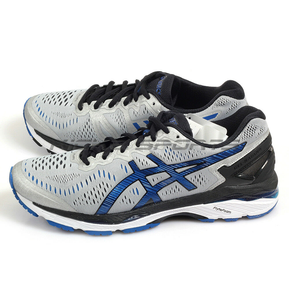 {Kickz} Asics GEL-Kayano 23 (2E) Silver/Imperial/Black Running Shoes T647N-9345
