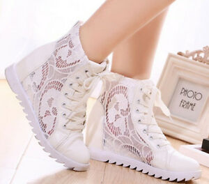 Womens-Stylish-Lace-Up-Mesh-Hidden-Wedge-Heel-High-Top-Sport-Sneakers-Shoes-Size