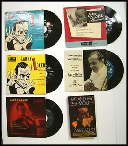 FOR-SERIOUS-COLLECTORS-1940-039-s-60-039-s-FIVE-5-LARRY-ADLER-45-RPM-RECORDS-AND-BOOK