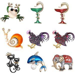 Fashion-Crystal-Rhinestone-Snail-Frog-Cock-Animal-Brooch-Pin-Women-Jewelry-Gift