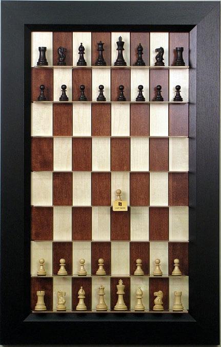 Hacia arriba tablero de ajedrez-Serie de Arce rojo con marco negro plano