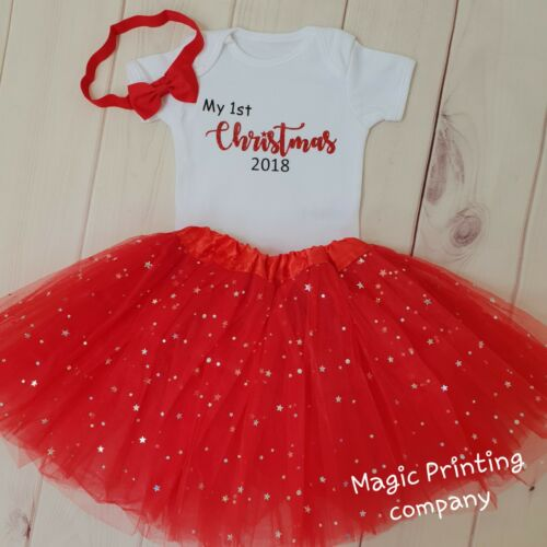 Baby Girls 1st Christmas Outfit Tutu Costume Red Glitter top Photo shoot dress