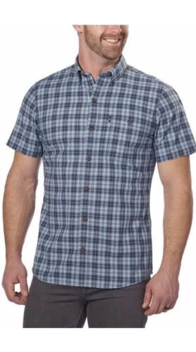 Men's Short Sleeve Woven Shirt G.H Mood Indigo Size XL NWT Bass /& Co