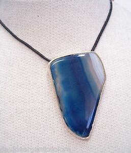 Ciondolo-in-ARGENTO-925-con-AGATA-naturale-blu-e-girocollo-pietra-dura