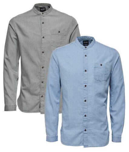 ONLY /& SONS Mens New Try Longline Grandad Collar Long Sleeve Fashion Denim Shirt