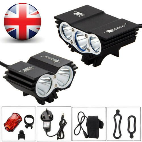 LED Mountain Bike Light Rechargeable Bicycle Torch Front Rear Lamp Set Reflector