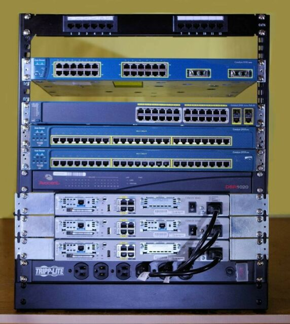 Cisco CCNA and CCNP home lab kit. Routers, Switches, POE, Layer 3, Rack, power!
