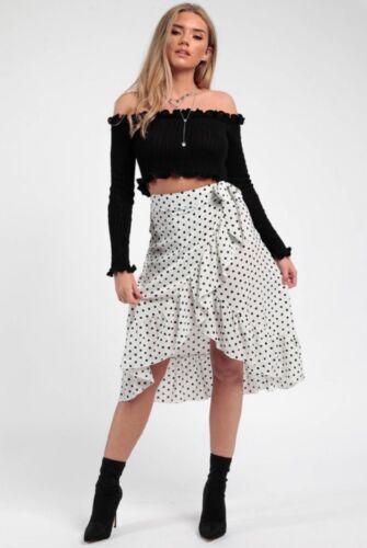 RRP £39.99 Polka Dot Frill Wrap Skirt in White