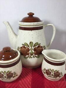 Vintage japan Ceramic Tea Set-Théière, Pot à lait et sucrier faience