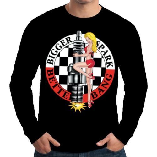 Velocitee homme t-shirt à manches longues à plus grande bougie hot rat rod biker pin up W7569