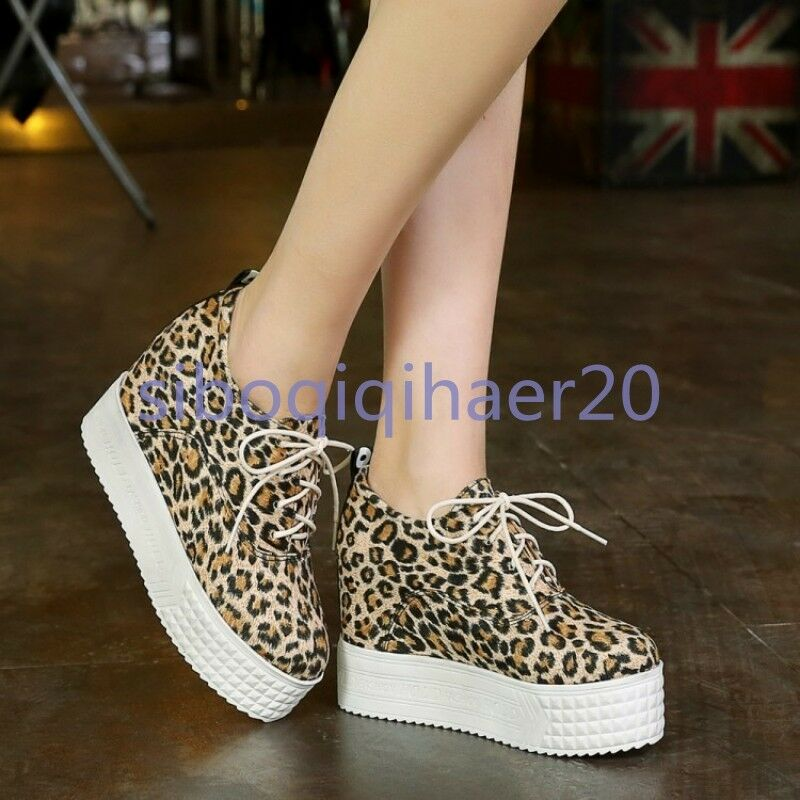 New Fashion Womens Leopard Creepers Wedges Heels Casual Autumn shoes Size US 9 S