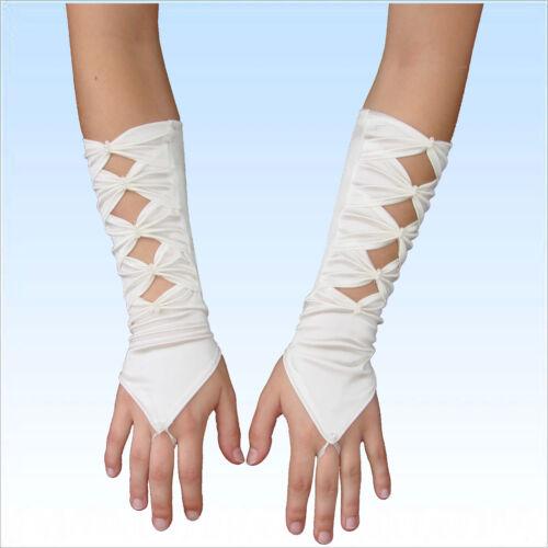 Brauthandschuhe Emma Fingerlos Satin elfenbein Handschuhe Handschuh Braut