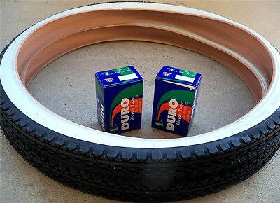 "2- 26x2.125 Beach Cruiser White Wall Tires & 2-26"" Duro Inner Tubes FOR CRUISERS"