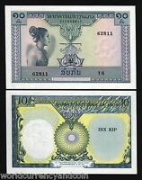 LAO LAOS 10 KIP P10 1962 BUNDLE LADY ELEPHANT SUNBURST UNC CURRENCY BIL 100 NOTE